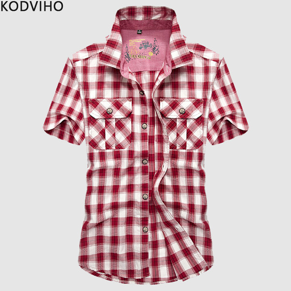 Blouse Men Plaid Streetwear Short Sleeve Casual Cotton Red Shirt Mens Slim Fit Summer Checkered Hawaii Brand Green Shirts Camisa