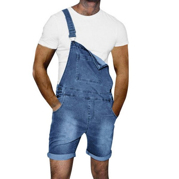 LASPERAL Summer Short Jeans Hombres Causal Streetwear Hip Hop Slim Short Jeans Romper Hombre Moda bolsillos Hip Hop Denim mono
