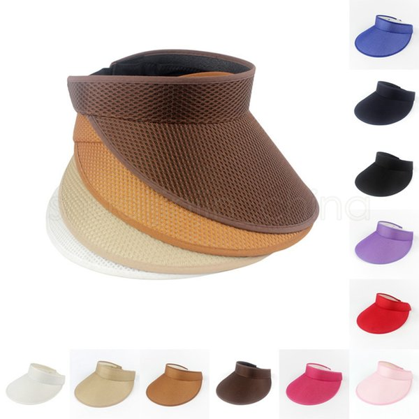 Fashion Sport Empty Top Cap Outdoor Solid Color Men Sports Marathon Tennis Cap Woman Travel Visor Beach Sun Hat T-LJJT661