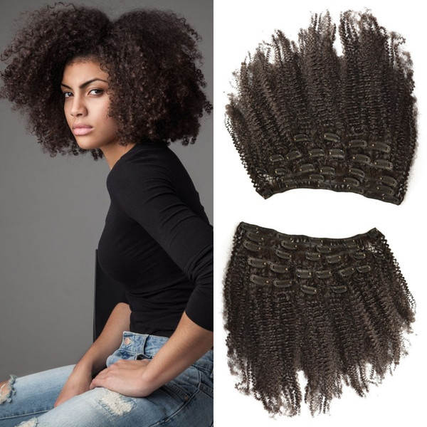 7pcs/set 4b,4c 120g afro kinky curly clip in extensions for black women 8-26inch unprocessed human hair free shipping LaurieJ Hair
