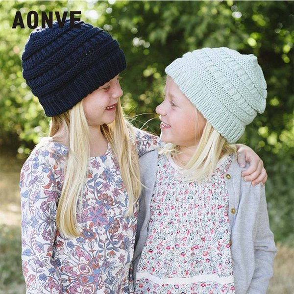 Aonve Bonnet Enfant Winter Knitted Beanie Solid Casual Hiver Hat For Boys And Girls Beige Pink Gorro Invierno 2018