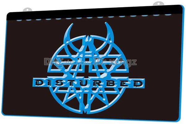 [LS0159] Disturbed Rock N Roll Music Pub NEW 3D Engraving LED Light Sign Customize on Demand 8 colors