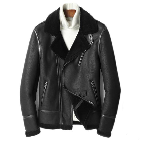Genuine Leather Jacket Men's Winter Jacket Real Sheepskin Coat for Men Wool Fur Liner Motorcycle Jackets Chaqueta Hombre MY1895