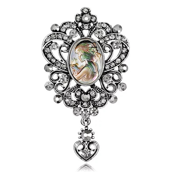 Women Brooches Retro Abalone Pearl Shell Beauty Girl Head Rainstone Pendant Heart Diamond Pins Brooch Dress Tie Boutonniere Suit Drop Pin