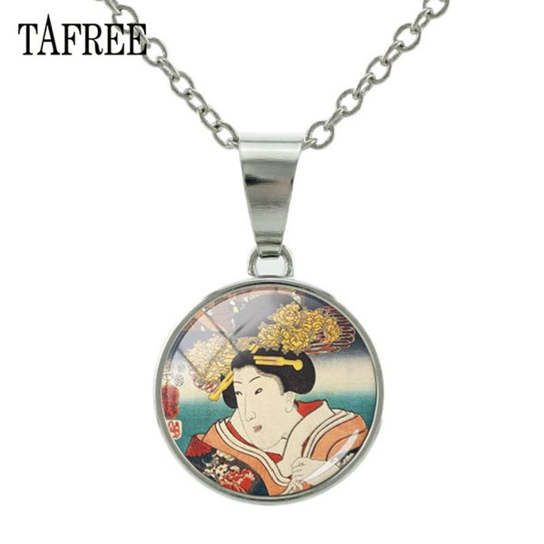 Japanese Geisha Traditional Women Painting Necklaces Glass Cabochon Photo Snap Button Necklace Pendant DIY Jewelry JP12