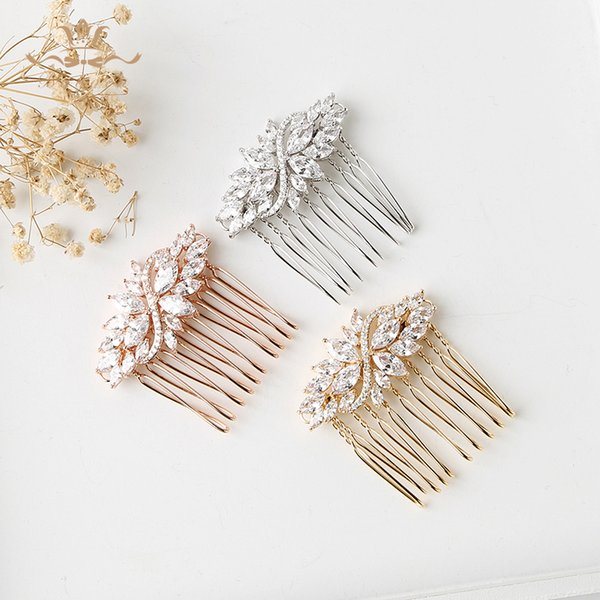 3 Colors Sparkling Clear Full Zircon Wedding Hair Combs Bridal CZ Headpiece Hair accessories Evening Hair Jewelry