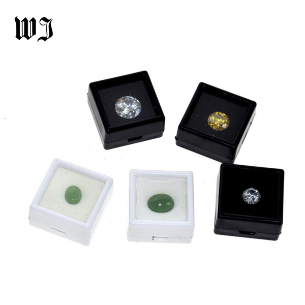 Venta al por mayor Gemstones Diamonds Box Loose Diamond Jewelry Display Case Holder Gem Show Storage Container Box Plastic White Black