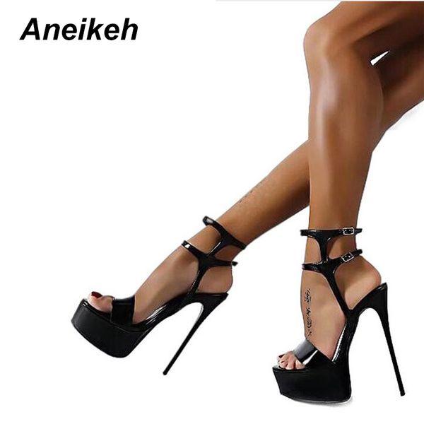 Aneikeh Nuevo 2019 Moda Peep Toe Sandalias de tacón alto Sexy Open Toe 16CM Sandalias de tacón alto Vestido de fiesta Zapatos de mujer Negro Rojo 46MX190824