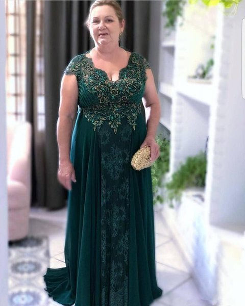 Hunter Green Plus Size Mother Of Bride Dresses Lace Beaded Crystals Mother Dresses Chiffon Formal Evening Party Gowns
