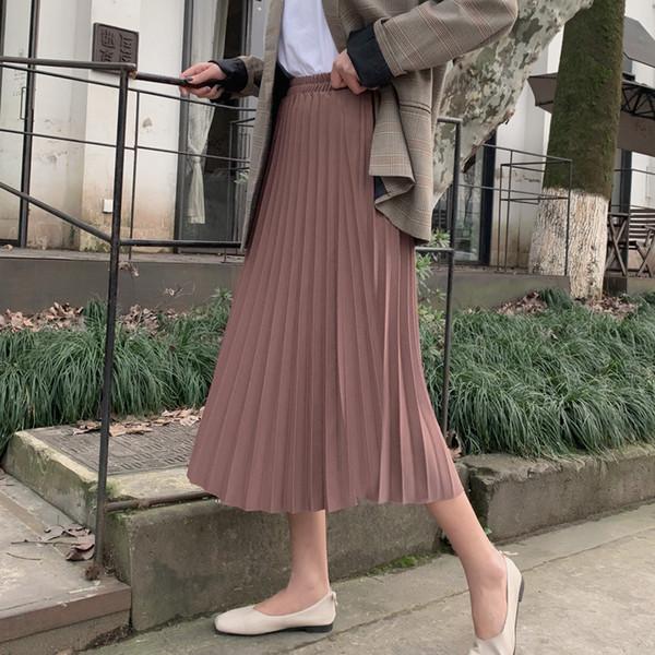 5 Cores 2019 Nova Primavera Outono Cintura Alta Saias Sem Cola Do Vintage Feminino Midwatts Elastic Comprimento Chiffon Fumaça Y19071501