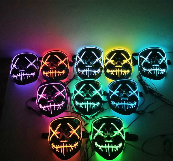New Halloween Mask LED Light Up Party Masks The Purge Election Year Great Funny Masks Festival Cosplay Costume Supplies Glow In Dark A237