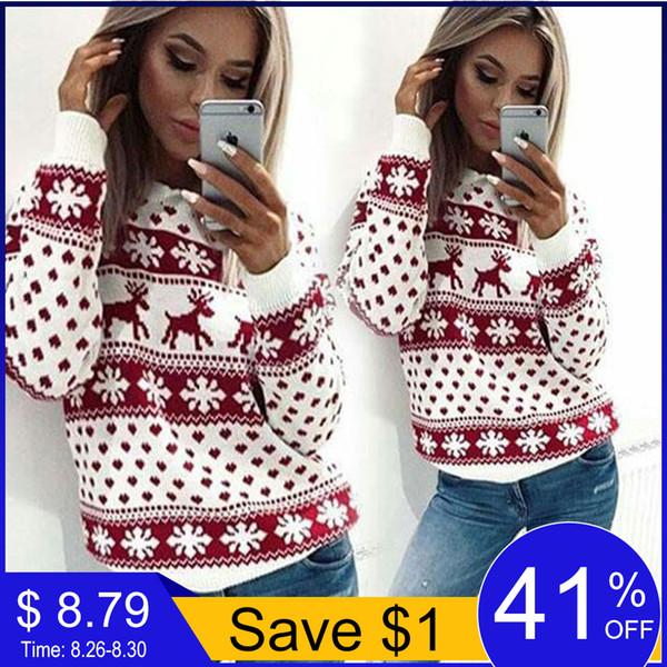 Herbst Winter Weihnachten Pullover Frauen Casual Langarm Deer Print Strickpullover Damen Pullover Jumper Ugly Pull