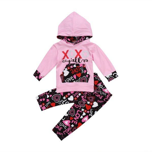 2PCS Baby Clothing Set Newborn Infant Girl Pink Hooded Tops Floral Pants Leggings Clothes Outfits Set