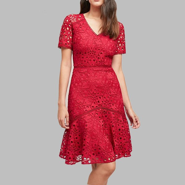 2019 été dentelle patchwork robe rouge femmes Sexy col en V travail Casual Party Slim robes Vintage Robes