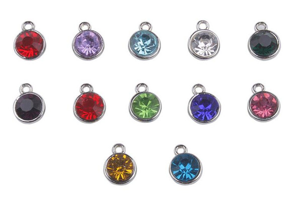 50PCS Assorted of Silver Tone Rhinestone Birthstone Charms Pendant For European Men Women Jewelry Necklace Accessories