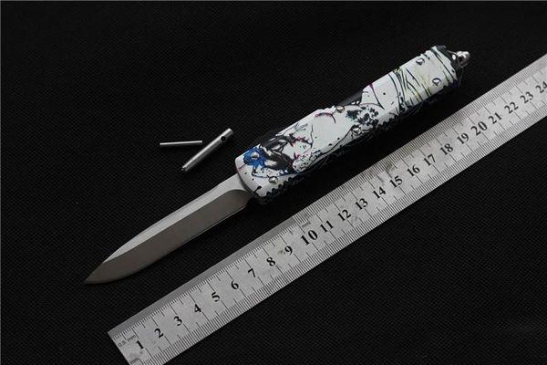 cuchillos automáticos Cuchillo D2 Cuchillo automático Geisha Cuchilla de un solo filo de Ultratech hacia fuera Cuchillo táctico de combate delantero (acero CNC D2) Aluminio 6061-T6