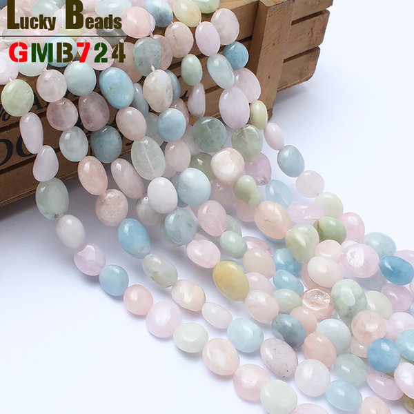 Fashion Jewelry Beads 8-10mm irregular natural genuine morganite stone beads for jewelry making 15inches free shipping