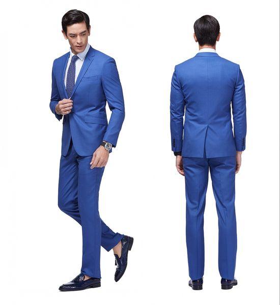 Newest Slim Fit Groom Tuxedos Royal Blue Best man Suit Notch Lapel Groomsman Men Wedding Suits Bridegroom Custom Made (Jacket+Pants)