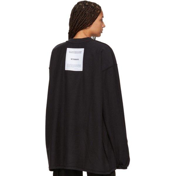 19SS VETEMENTOS Suéter de doble cara con estampado de tiburones detrás del parche con logo Camiseta de manga larga Suéter Hombre y mujer Suéter de alta calidad HFBYWY225
