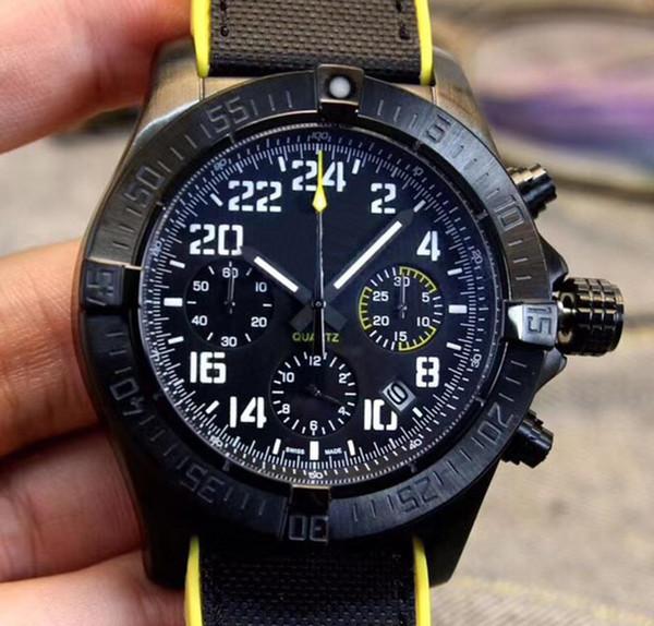 Las mejores marcas Reloj para hombre Movimiento de cuarzo Cronógrafo Black Dial 316L Premium Inoxidable Corchete plegable para hombre Relojes deportivos