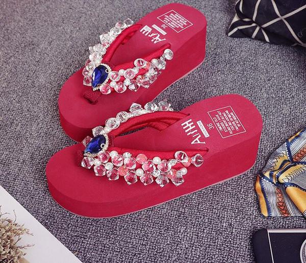Big diamond sandals slippers shiny rhinestones flip flops women holidays beach shoes wedge platform sandal women