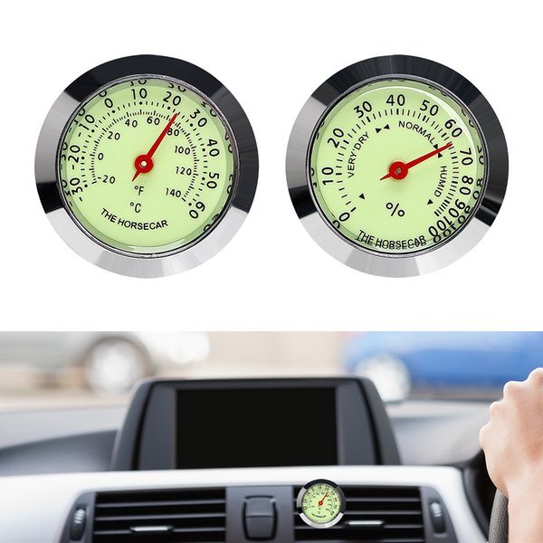 Automobil-Air Vent-Klipp-Auto-Verzierungen Dekoration Luminous Thermometer Hygrometer Interieur Zubehör Car Styling