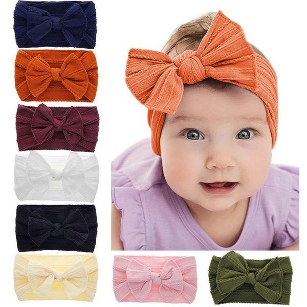 8 Farben Weiche Knoten Headhands Baby Mädchen Nylon Haarband BowKnot Hanf Muster Bogen Retro Kaninchen Ohr Kopf Seil Turban Knoten kopf bands Wrap