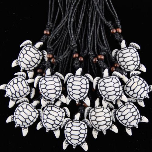 Wholesale 12PCS Cool Imitation Yak Bone Carving Hawaiian Surfing Sea Turtles Pendants Wood Beads Cord Necklace Choker Lucky Gift MN279