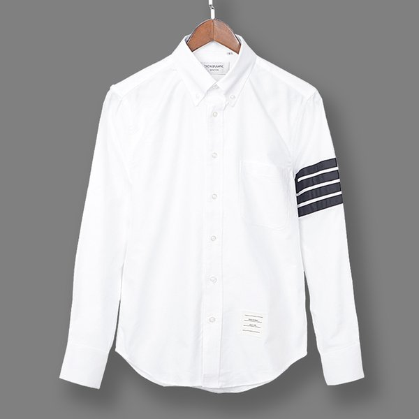New style brand early spring TB striped long-sleeved shirt casual slim shirt men and women couple models
