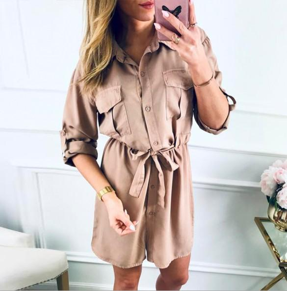 2019 designer Womens Shirt Dress Spring and Autumn Womens Slim Long Casual Dress with 3 Colors Asian Size S-3XL wholesale