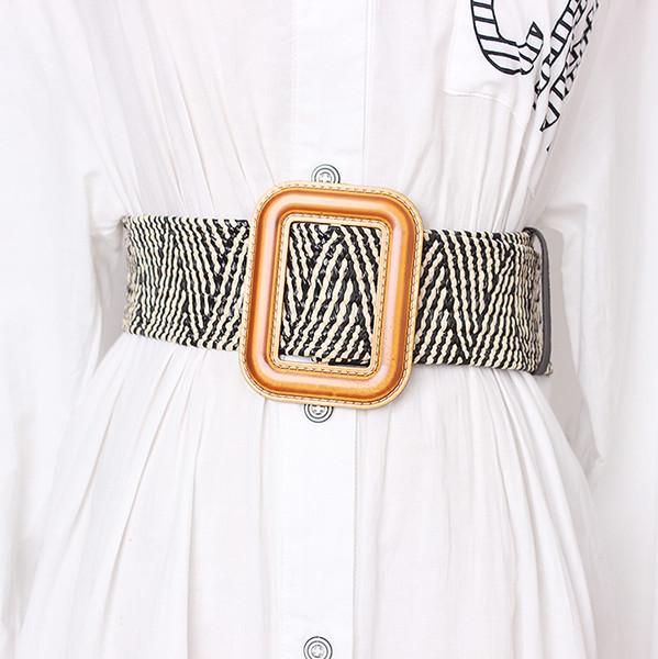 Fivela de madeira Vestido Cinto Para As Mulheres Casuais Feminino Trançado Cinta Larga Designer de Tecido Meninas Elásticas PP Cintos de Palha BZ338