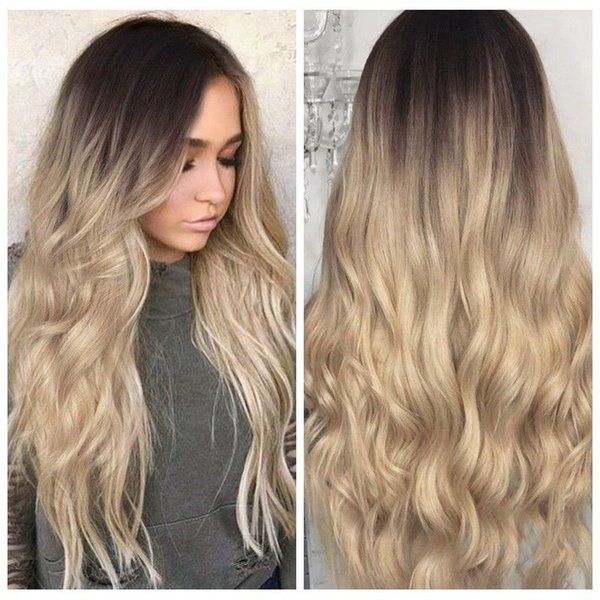Kinky Curly Synthetic Ombre Hairstyle Blonde Hair For Women Full Wigs Long Wavy New High Quality Fashion Picture Wig Ebony Wigs Half Wig From