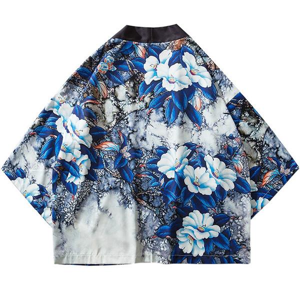 Harajuku Floral Kimono Chaqueta Japonesa Hip Hop Hombres Streetwear Chaqueta Azul Hojas Estampado de flores 2019 Verano manto fino estilo de Japón