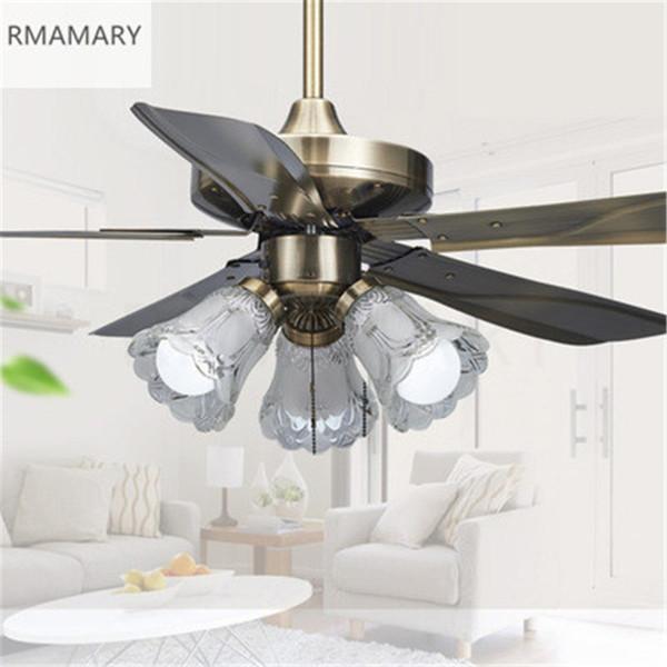 Ücretsiz kargo Kapalı Tavan Fanı ışık Avrupa tarzı uzaktan kumanda Fırçalı Nikel Amerikan Tavan Fanı lambası 42 inç LED 3 ışıkları