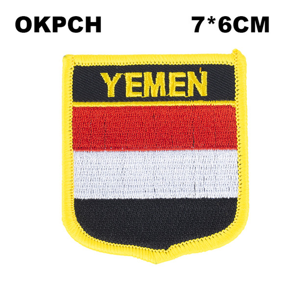 Yemen Flag Embroidery Iron on Patch Embroidery Patches Badges for Clothing PT0200-S