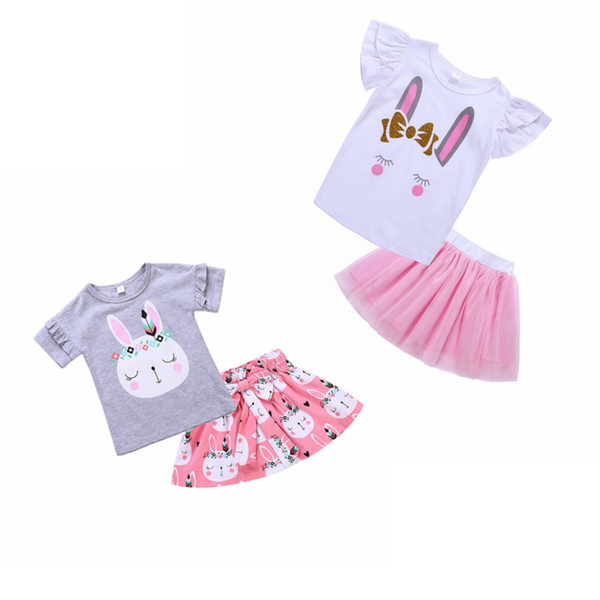 0d01dc7534ec2 2019 Easter Bunny Set Baby Girls Cartoon Rabbit Floral Short Sleeve Top Bow  Print Dress Kids Clothing Suit From Greatamy, $6.04   DHgate.Com