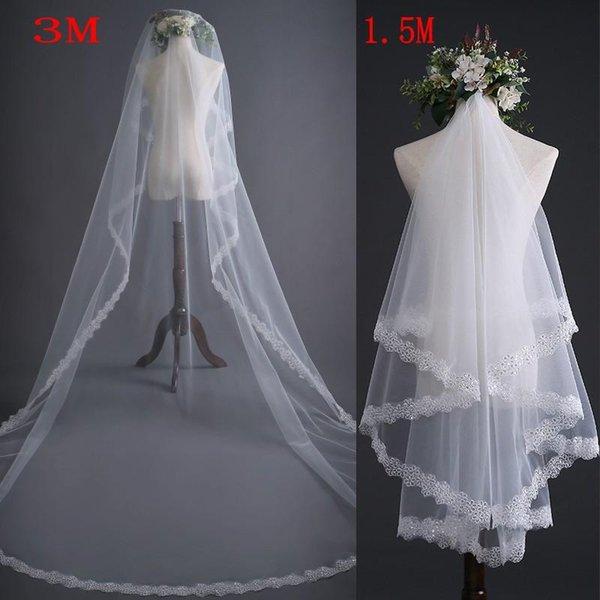 الرباط العاج يزين حافة الحجاب الزفاف 1.5M 3M المتاحة رئيس الملحقات الزفاف أعلى بيع طبقة واحدة