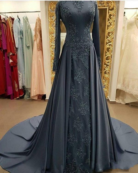 2020 New Sexy Arabic Gray Mermaid Evening Dresses Lace Appliques Beaded Satin Overskirts Sweep Train Plus Size Formal Cheap Prom Party Gowns