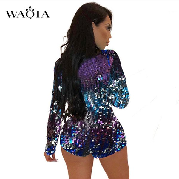 4a04fff26fc2 2018 New Charming Colorful Sequins Jumpsuit Rompers Women Long Sleeve Sexy  Deep V Neck Bodysuit Xmas Party Nightclub Playsuits