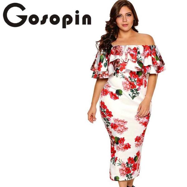 Gosopin с открытыми плечами летняя обувь с цветочным принтом Элегантная вечерняя облегающая одежда больших размеров Xxxl Vestidos De Festa Longo Lc61611 Y19070901