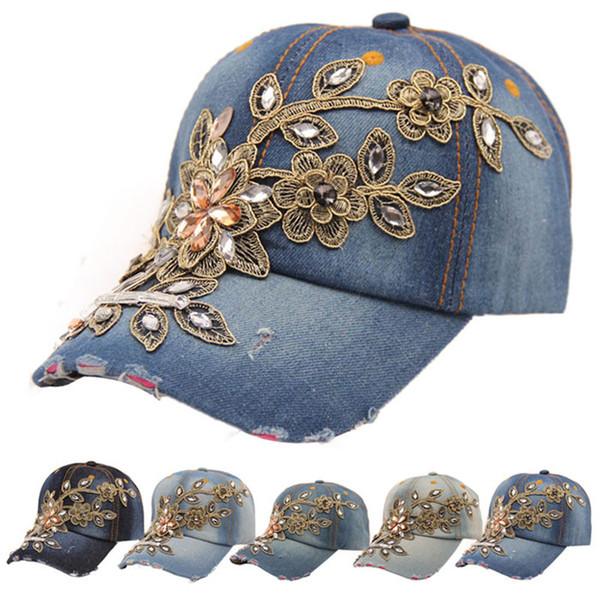 2018 Neue Mode-Frauen Caps Diamant-Blumen-Cowboy Knochen feminino Baseballmütze Sommer-Art-casquette Jeans Hüte Denim