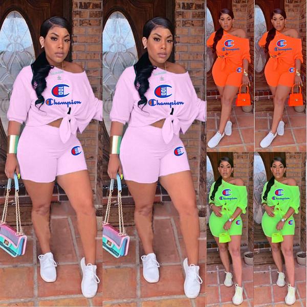 T-shirt + Short 2 pièces pièce courte bandage Tops Tees Outfit Summer Sportswear Plus Size A51301