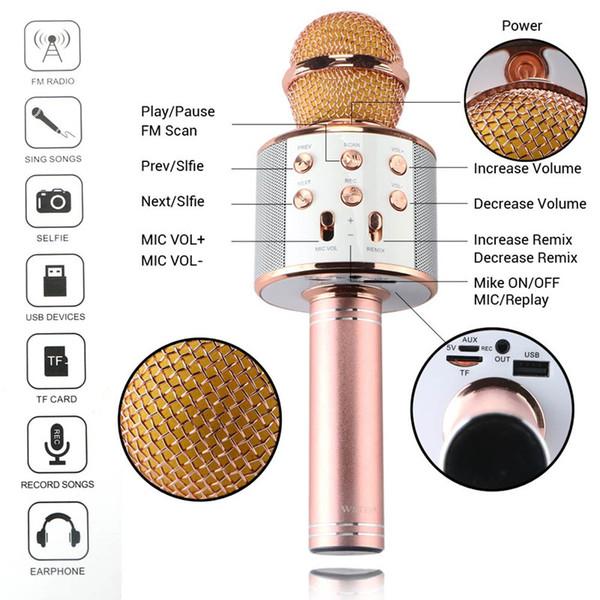 DOITOP Мода Беспроводной Bluetooth Конденсатор Magic Karaoke Микрофон Ручной микрофон Мобильный Телефон Микрофон KTV Sing Mic