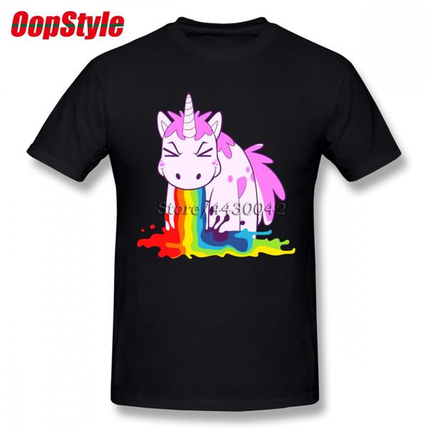 Unicórnio Rainbow T-shirt Para Os Homens Dropshipping Algodão de Manga Curta Plus Size Equipe Personalizada Tee 4XL 5XL