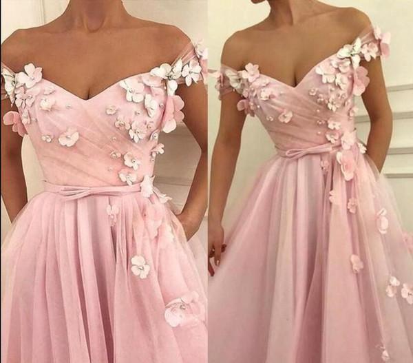 2019 blush rose une ligne robes de bal hors épaule perles faites à la main fleurs longueur au sol volants plus la taille dos nu personnalisé robes de soirée