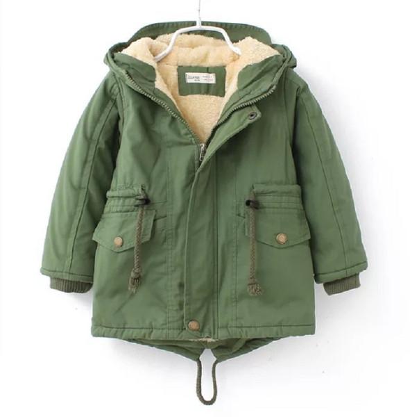 Brasão do inverno dos miúdos jaqueta grossa algodão de lã com capuz Windbreaker Meninos
