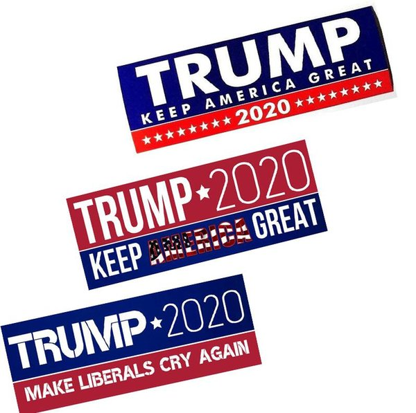 best selling 5 styles Donald Trump 2020 US Presidential Election Trump Bumper Car Stickers Car Bumper Stickers Keep America Great Stickers 23*7.6cm DHL