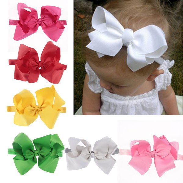 6 INCH BIG BOWS BOUTIQUE Hairband Soft knot Band CLIPS GROSGRAIN RIBBON BOW GIRL