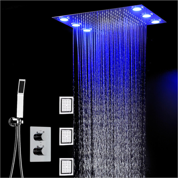 360 * 500mm Chuva Chuveiro Set Controle Remoto Cor Luzes de Teto de Chuvas Rainfall Waterfal Chuveiro 3 Way Temperatura Termostática Mixer Banheiro