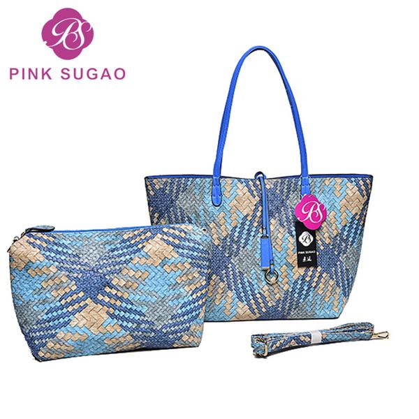 best selling Pink sugao designer handbags women tote bag 2pcs set top quality pu leather handbag fashion bags 6 color messenger crossbody shoulder bag